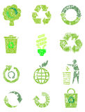 Grunge recycle icon set Royalty Free Stock Photos