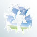 Grunge recycle symbol splatter Stock Image