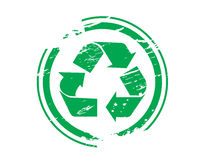 Grunge recycling symbol rubber Stock Images