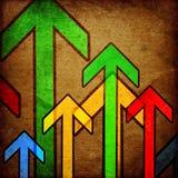 Grunge red arrows. On vintage background Stock Images