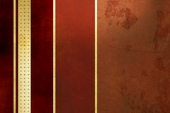 Red background - golden stripes - elegant grunge design Royalty Free Stock Photography