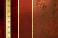 Red background - golden stripes - elegant grunge design. Grunge red background with gold lines - abstract vintage design Royalty Free Stock Photography