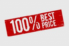 Grunge red 100 best price square rubber seal stamp stock illustration