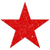 Grunge is a red big star. Vector shabby, scratched star. Grunge star symbol. stock illustration