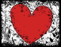 Grunge Red Black Heart Background 2. A background illustration featuring a red heart positioned on grunge black ink and white background stock illustration