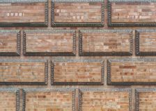 Grunge red brick frame wall background with copy space.Old brick wall, old texture of red stone blocks closeup. Grunge red brick frame wall background with copy royalty free stock image