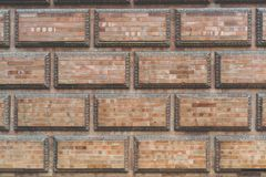 Grunge red brick frame wall background with copy space.Old brick wall, old texture of red stone blocks closeup. Grunge red brick frame wall background with copy stock image