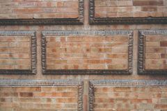Grunge red brick frame wall background with copy space.Old brick wall, old texture of red stone blocks closeup. Grunge red brick frame wall background with copy royalty free stock photography