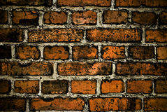 Grunge red brick wall background or texture. Closeup of red grunge bricks royalty free stock photography