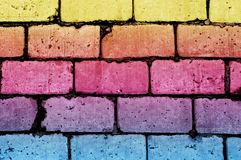 Grunge brick wall texture with additional color blocks royalty free stock photography