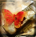 Grunge red butterfly Stock Photography