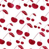 Grunge red cherry. Decorative pattern with grunge red cherry and texture Vector Illustration