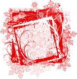 Grunge red frame & snowflakes Royalty Free Stock Images