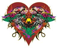 Grunge red heart symbol with horses. Valentine`s Day card in the form of ethnic horses with arrows and colorful floral splashes on a white background stock illustration
