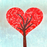 Grunge red heart tree crown Stock Photo