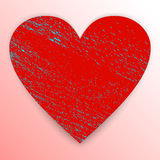 Grunge red heart. Vector graphic. Heart. Grunge red shape  on pink background with blue scratches and shadow. Textured sign of Valentine`s Day. Vector Stock Images
