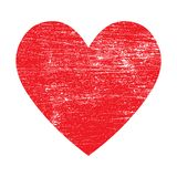 Grunge red heart vector isolated icon