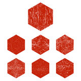 Grunge red hexagon Royalty Free Stock Images