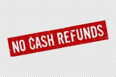 Grunge red no cash refunds square rubber seal stamp. On transparent  background. Retro Icon for design. No cash sign. Vector illustration royalty free illustration