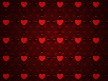 Grunge red pattern with hearts Stock Photos
