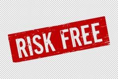 Grunge red Risk free square rubber vector illustration