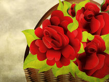 Grunge red roses in basket Stock Photo