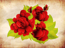Grunge red roses with leaves Stock Photos