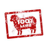 Grunge red rubber stamp with the text 100 percent lamb written i Stock Photos