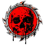 Grunge red sign to skull Stock Images