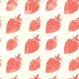 Grunge red strawberry. Decorative pattern with grunge red strawberry and texture Stock Illustration