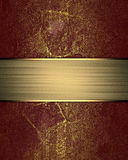 Grunge Red Texture With Gold Nameplate. Template For Design. Copy Space For Ad Brochure Or Announcement Invitation Royalty Free Stock Image
