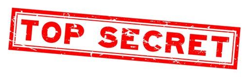 Grunge red top secret word square rubber stamp on white background vector illustration