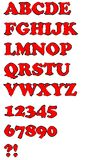 Grunge red uppercase alphabet set Stock Images