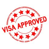 Grunge red visa approved with star icon round rubber stamp on white background vector illustration