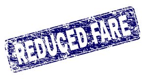 Grunge REDUCED FARE Framed Rounded Rectangle Stamp. REDUCED FARE stamp seal print with grunge texture. Seal shape is a rounded rectangle with frame. Blue vector vector illustration