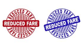 Grunge REDUCED FARE Textured Round Stamps. Grunge REDUCED FARE round stamp seals isolated on a white background. Round seals with grunge texture in red and blue vector illustration