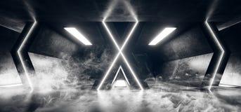Grunge reflexivo futurista estrangeiro de néon Hall Corridor Fluorescent Luxurious Luminous vazio concreto de Sci Fi do fumo que  ilustração do vetor