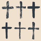 Grunge religious, baptism, christian crosses, crucifix symbols vector Stock Photography
