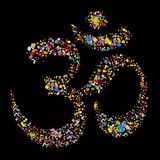 Grunge religious hindu symbol Om, vector Stock Photography