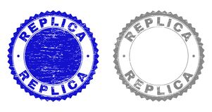 Grunge REPLICA Scratched Stamp Seals. Grunge REPLICA stamp seals isolated on a white background. Rosette seals with grunge texture in blue and gray colors stock illustration