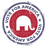 Grunge republican elephants rubber stamp. USA presidential election patriotic seal with republican elephants silhouette and Vote For America text. Rubber stamp Stock Photo