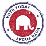 Grunge republican elephants rubber stamp. USA presidential election patriotic seal with republican elephants silhouette and Vote Today text. Rubber stamp Stock Photography