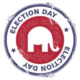 Grunge republican elephants rubber stamp. USA presidential election patriotic seal with republican elephants silhouette and Election Day text. Rubber stamp Stock Image