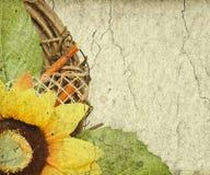 Grunge retro achtergrond met de ruimte van het zonnebloemexemplaar Stock Foto's