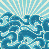 Grunge retro background with abstract curly waves Stock Image