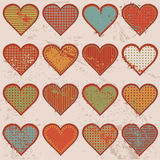 Grunge retro background with hearts Royalty Free Stock Image