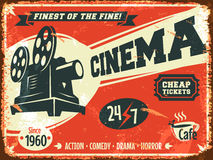 Grunge retro cinema poster Royalty Free Stock Photo