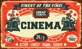 Grunge retro cinema poster Royalty Free Stock Image