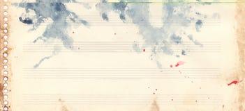 Grunge retro da textura do fundo da folha de música da aquarela do vintage ilustração royalty free