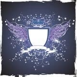 Grunge Retro- Emblem auf dunklem Hintergrund Lizenzfreie Stockfotos